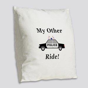 Police My Other Ride Burlap Throw Pillow