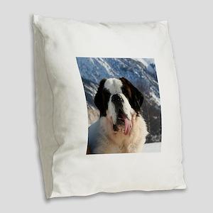saint bernard Burlap Throw Pillow