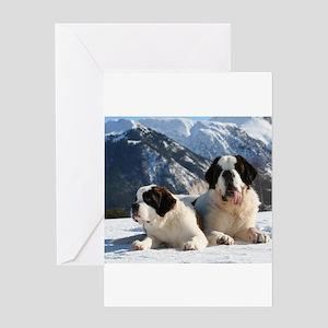 saint bernard group Greeting Cards