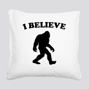 Bigfoot I Believe Square Canvas Pillow