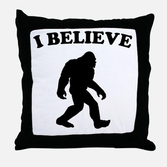 Bigfoot I Believe Throw Pillow