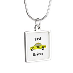 Taxi Driver Silver Square Necklace