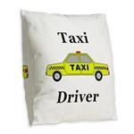 Taxi Driver Burlap Throw Pillow