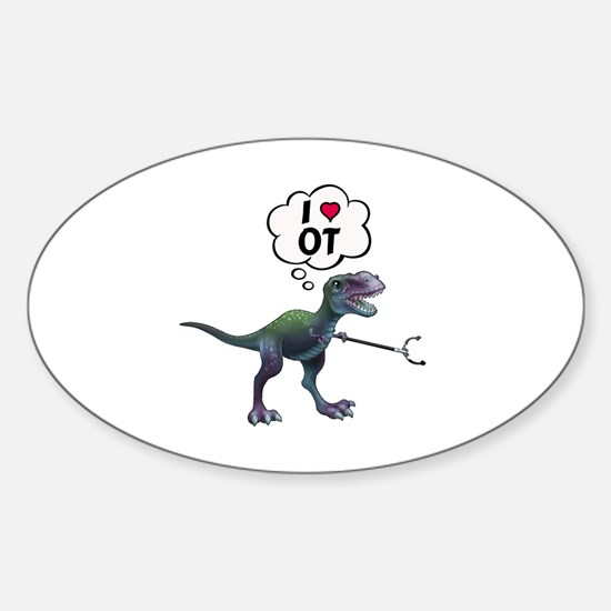 Cute Funny dinosaur Sticker (Oval)