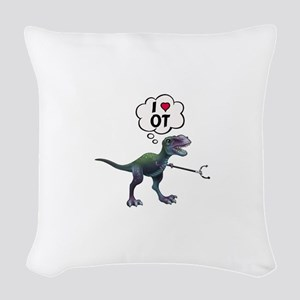 T-Rex Loves Occupational Thera Woven Throw Pillow