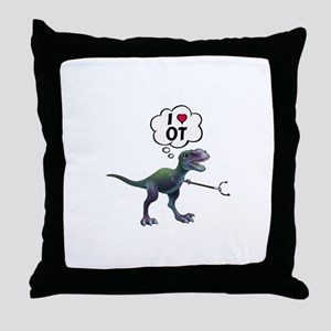 T-Rex Loves Occupational Therapy Throw Pillow
