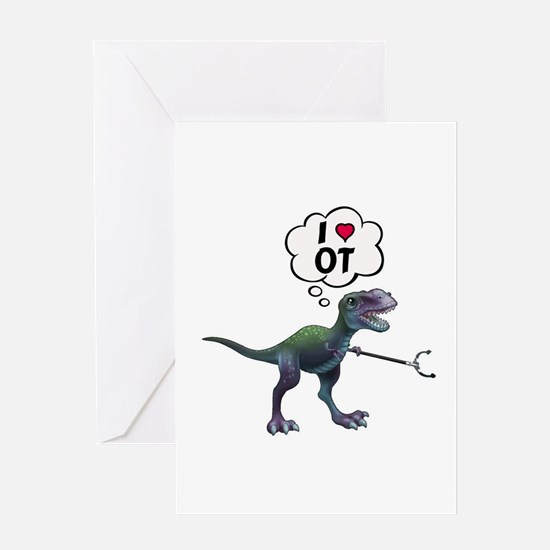 T-Rex Loves Occupational Therapy Greeting Cards