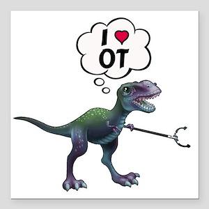 "T-Rex Loves Occupational Square Car Magnet 3"" x 3"""