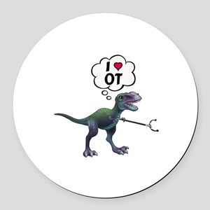 T-Rex Loves Occupational Therapy Round Car Magnet