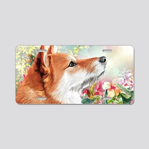 Shiba Inu Painting Aluminum License Plate