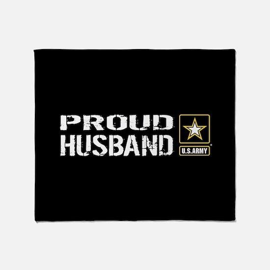 U.S. Army: Proud Husband (Black) Throw Blanket