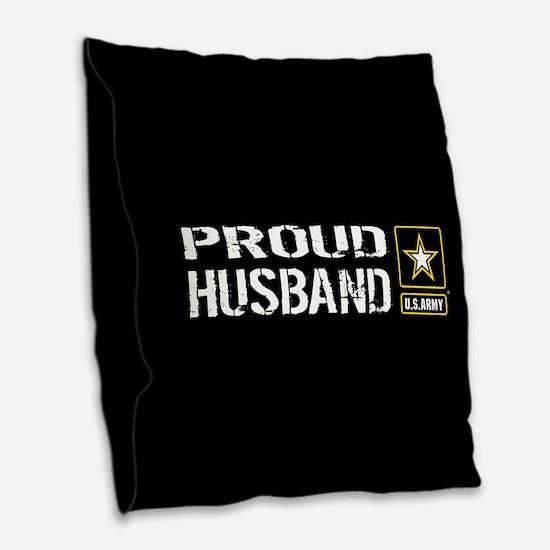 U.S. Army: Proud Husband (Blac Burlap Throw Pillow