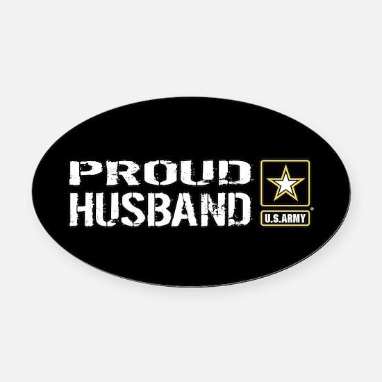 U.S. Army: Proud Husband (Black) Oval Car Magnet