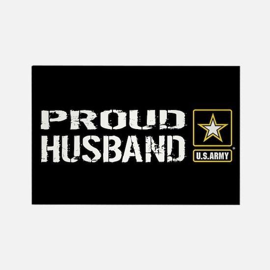 U.S. Army: Proud Husband (Black) Rectangle Magnet