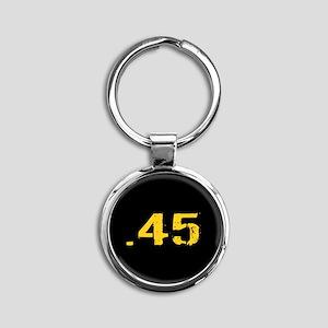 .45 Ammo: Black & Gold Round Keychain