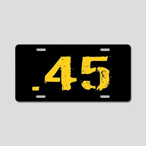 .45 Ammo: Black & Gold Aluminum License Plate