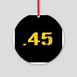 .45 Ammo: Black & Gold Round Ornament