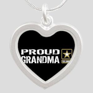U.S. Army: Proud Grandma (Bl Silver Heart Necklace