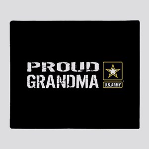 U.S. Army: Proud Grandma (Black) Throw Blanket