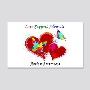 Autism Butterflies in Hearts 20x12 Wall Decal