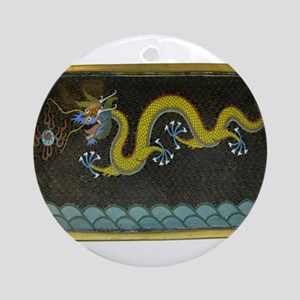 BRONZE_ENAMEL_DRAGON_Ancient_Chines Round Ornament