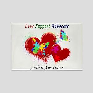 Autism Butterflies in Hearts Rectangle Magnet