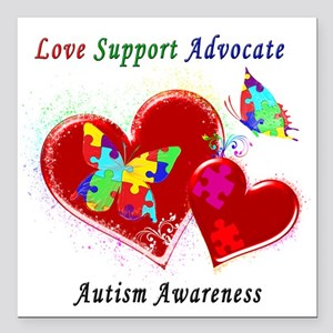 """Autism Butterflies in He Square Car Magnet 3"""" x 3"""""""