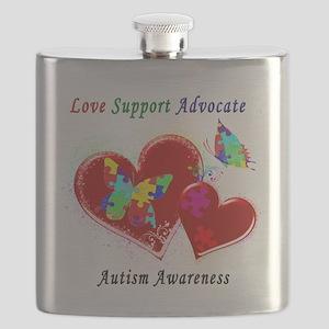 Autism Butterflies in Hearts Flask