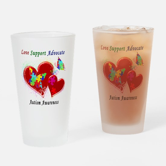 Autism Butterflies in Hearts Drinking Glass