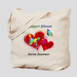 Autism Butterflies in Hearts Tote Bag