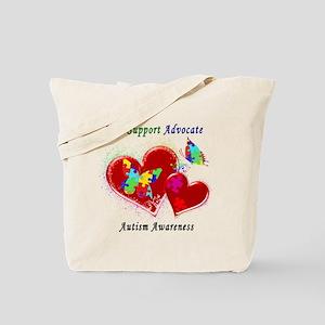 Autism Butterflies in Hearts Tote Bag