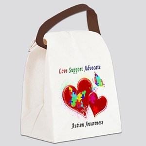 Autism Butterflies in Hearts Canvas Lunch Bag