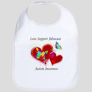 Autism Butterflies in Hearts Bib