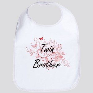 Twin Brother Artistic Design with Butterflies Bib