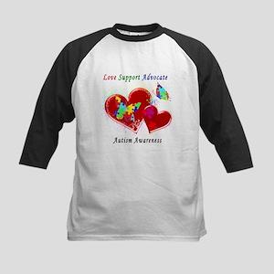 Autism Butterflies in Hearts Kids Baseball Jersey