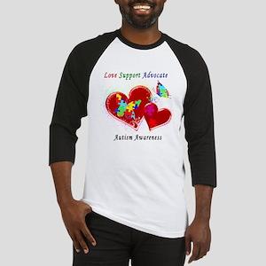 Autism Butterflies in Hearts Baseball Jersey