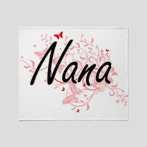 Nana Artistic Design with Butterflie Throw Blanket
