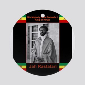 Haile-Selassie-Jah_Rastafari Round Ornament