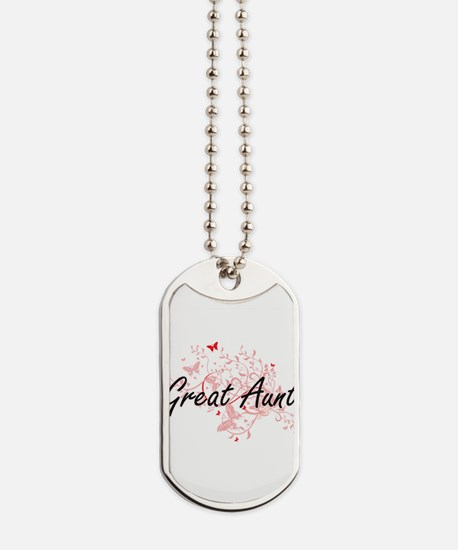 Great Aunt Artistic Design with Butterfli Dog Tags