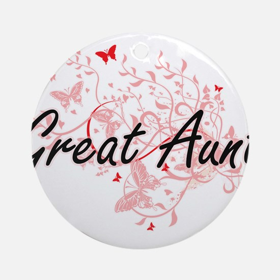 Great Aunt Artistic Design with But Round Ornament