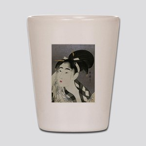 Woman-Wiping-her-face-Utamaro-Woodblock Shot Glass
