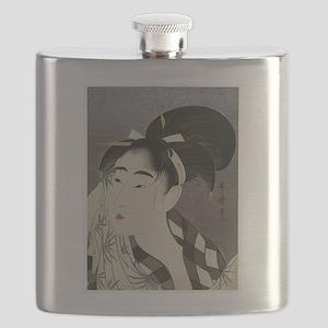 Woman-Wiping-her-face-Utamaro-Woodblock Flask