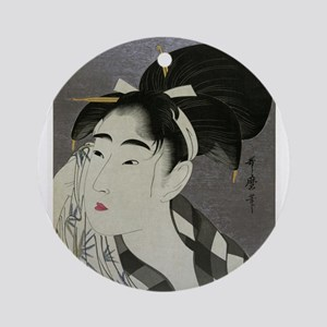 Woman-Wiping-her-face-Utamaro-Woodb Round Ornament