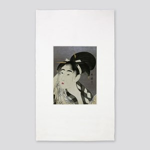 Woman-Wiping-her-face-Utamaro-Woodblock Area Rug