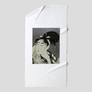 Woman-Wiping-her-face-Utamaro-Woodbloc Beach Towel