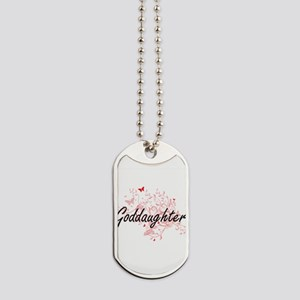 Goddaughter Artistic Design with Butterfl Dog Tags