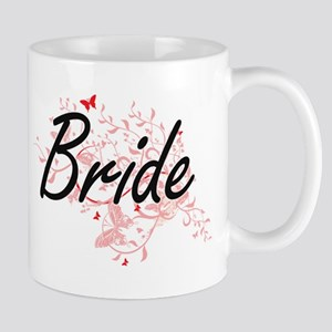 Bride Artistic Design with Butterflies Mugs