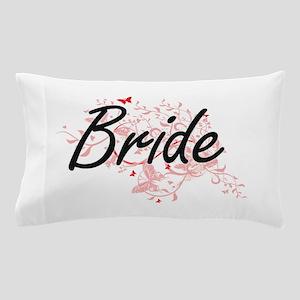 Bride Artistic Design with Butterflies Pillow Case