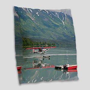 Float plane, Trail Lake, Alask Burlap Throw Pillow