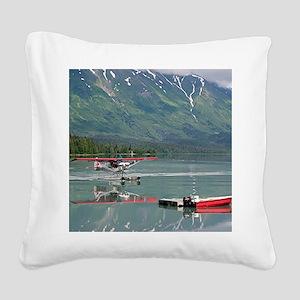 Float plane, Trail Lake, Alas Square Canvas Pillow